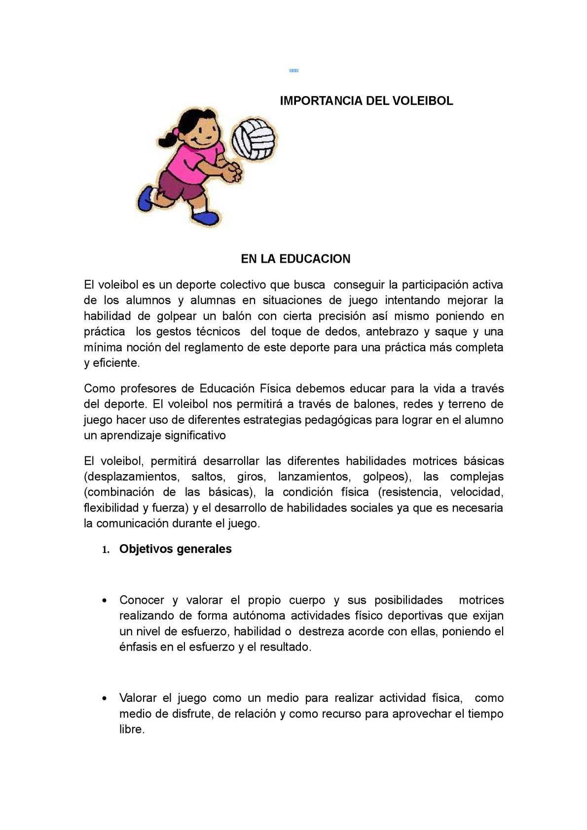 Calam o importancia del voleibol en la educacion for El gimnasio es un deporte