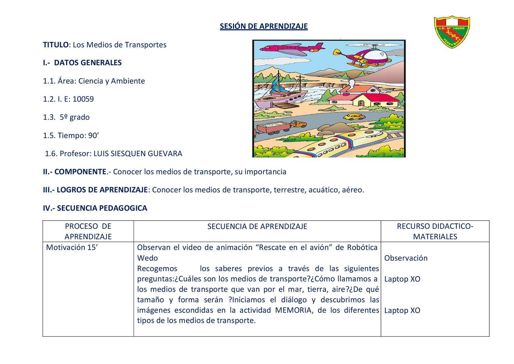 """SESION DE APRENDIZAJE CON ROBOTICA EDUCATIVA """"LOS MEDIOS DE TRANSPORTE"""""""