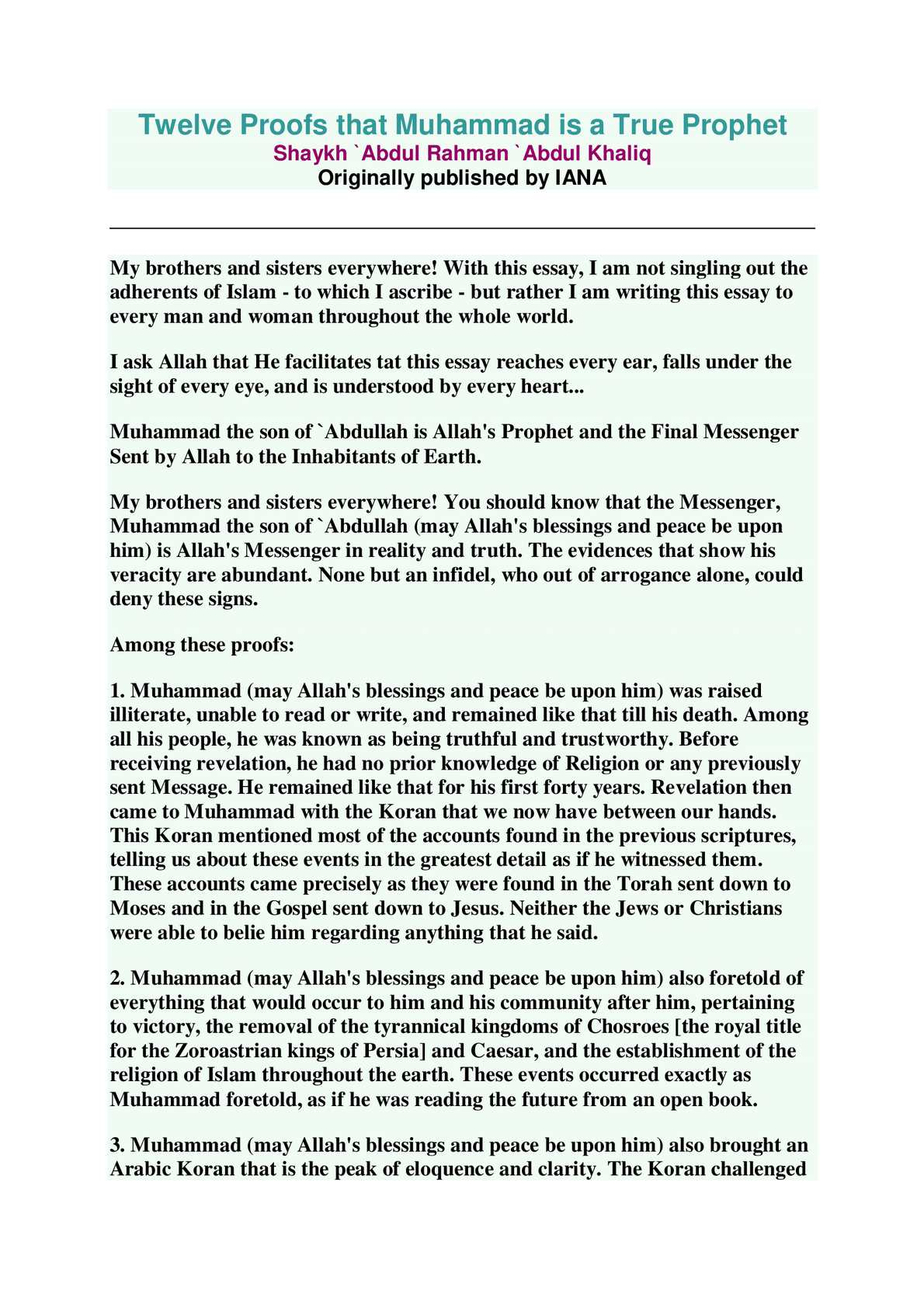 Student Life Essay In English  Science Fiction Essays also The Yellow Wallpaper Essay Calamo  Twelve Proofs That Muhammad Is A True Health Care Essays