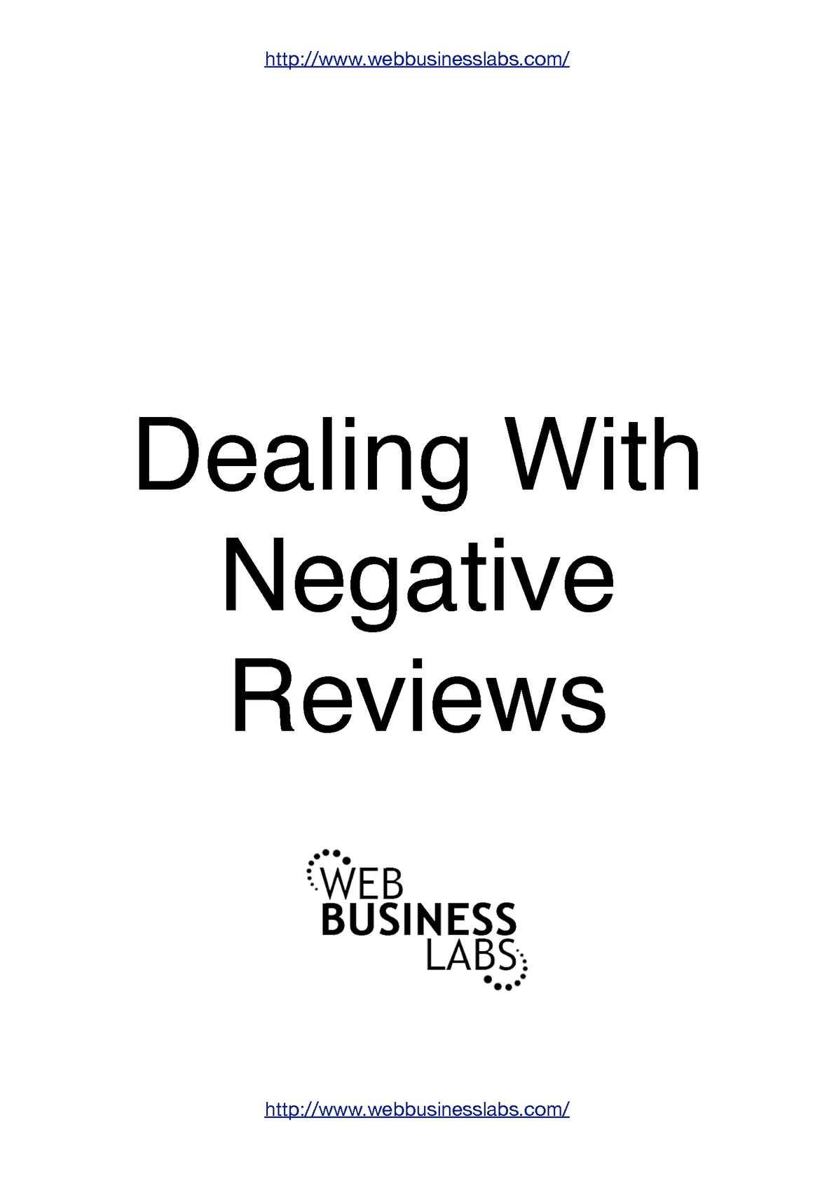 Calaméo - Dealing With Negative Reviews Online
