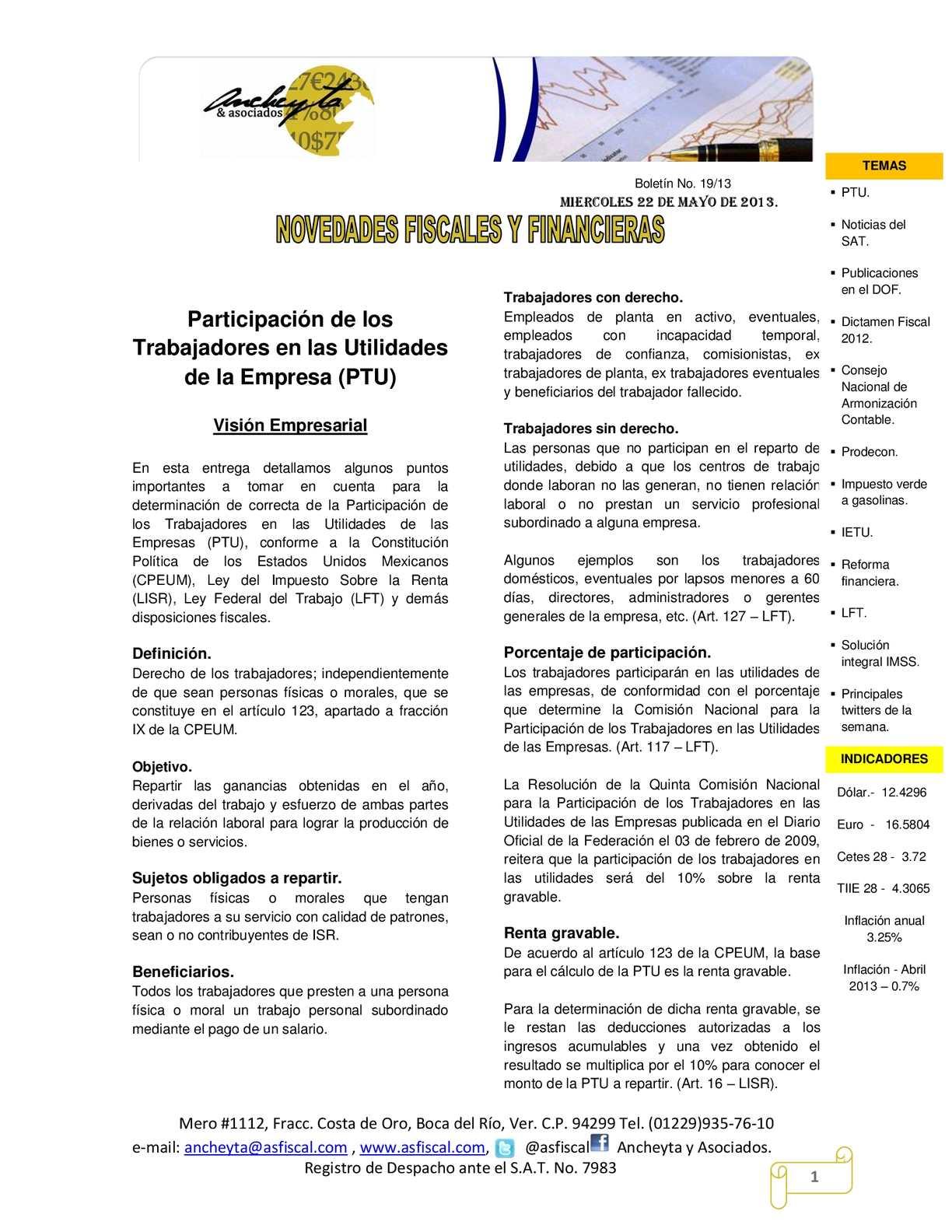 Calaméo - BOLETÍN 19/13 NOVEDADES FISCALES Y FINANCIERAS