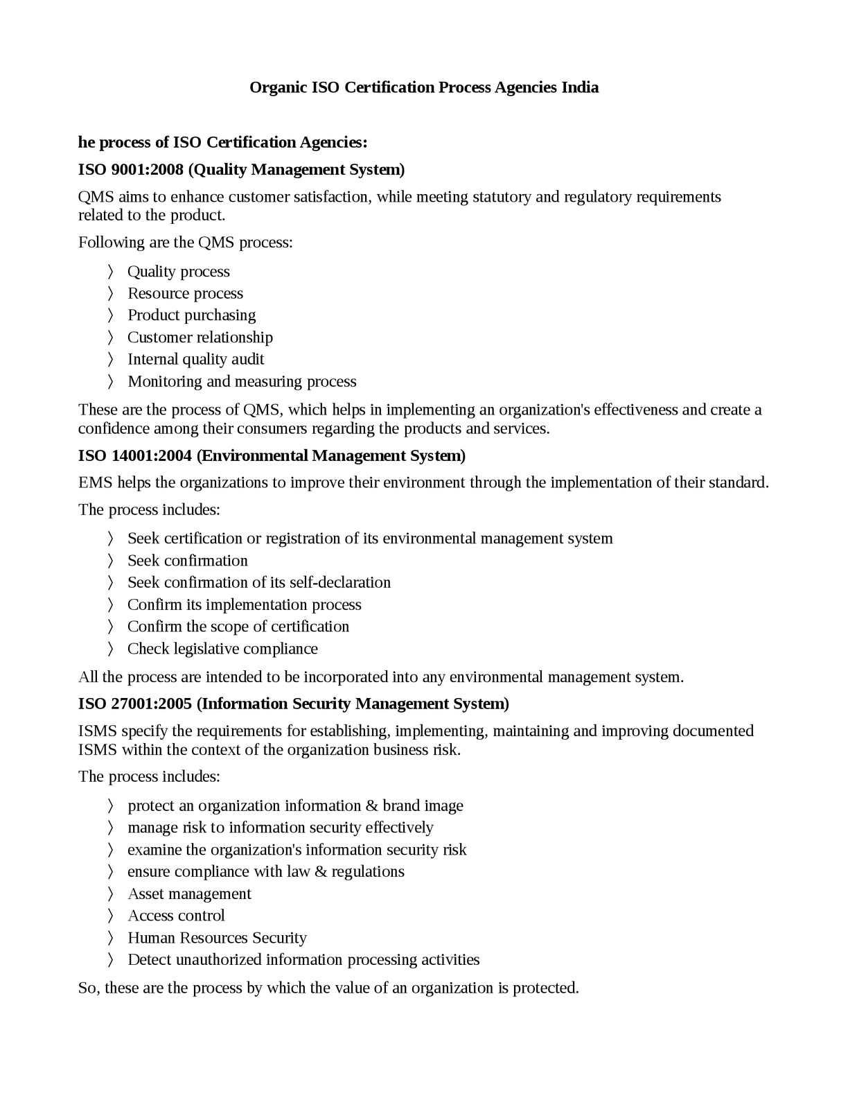 Calamo Organic Iso Certification Process Agencies India