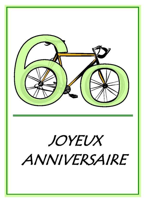 Calam o carte de voeux anniversaire 60 ans velo - Voeux anniversaire 60 ans ...