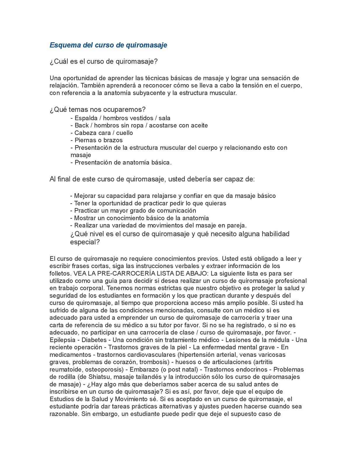 Calaméo - Esquema del curso de quiromasaje