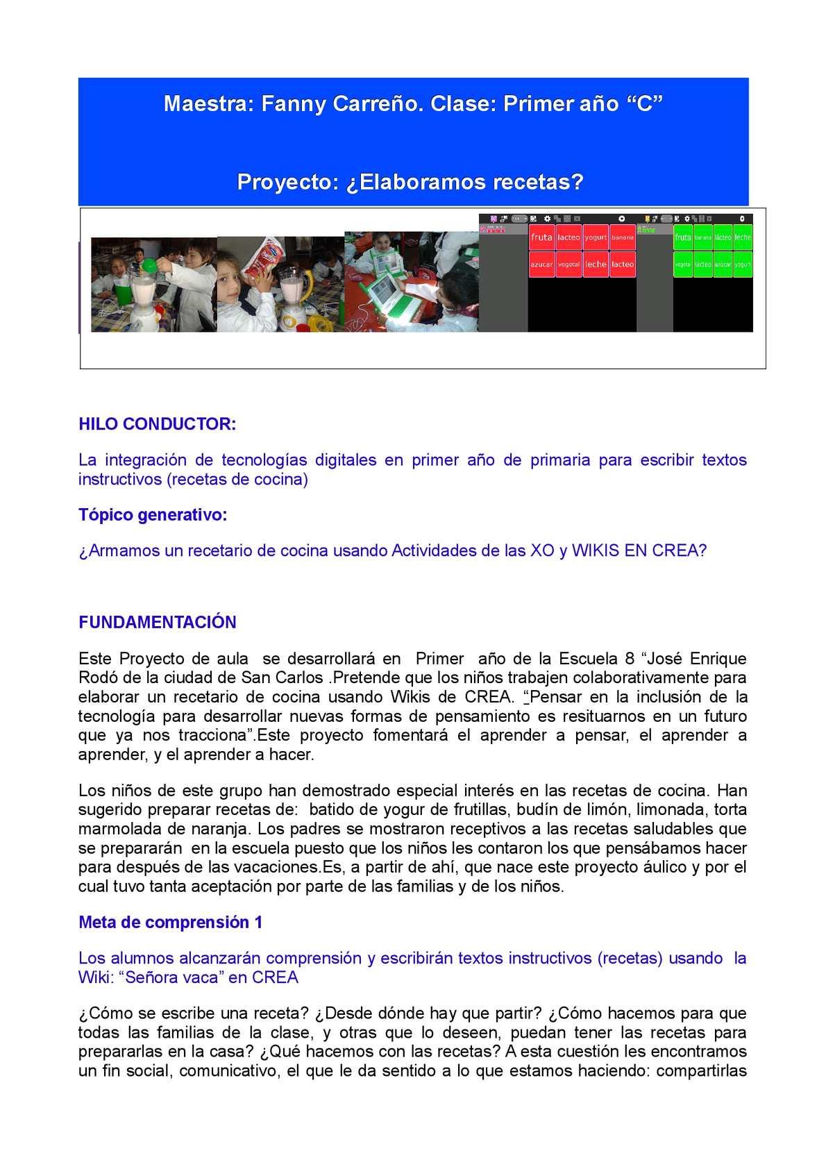 Calaméo - Escuela Nº 8 de Maldonado - 1er. año Proyecto recetario
