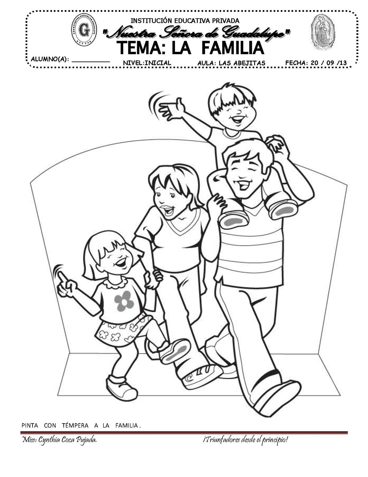 Family coloring pictures for kids