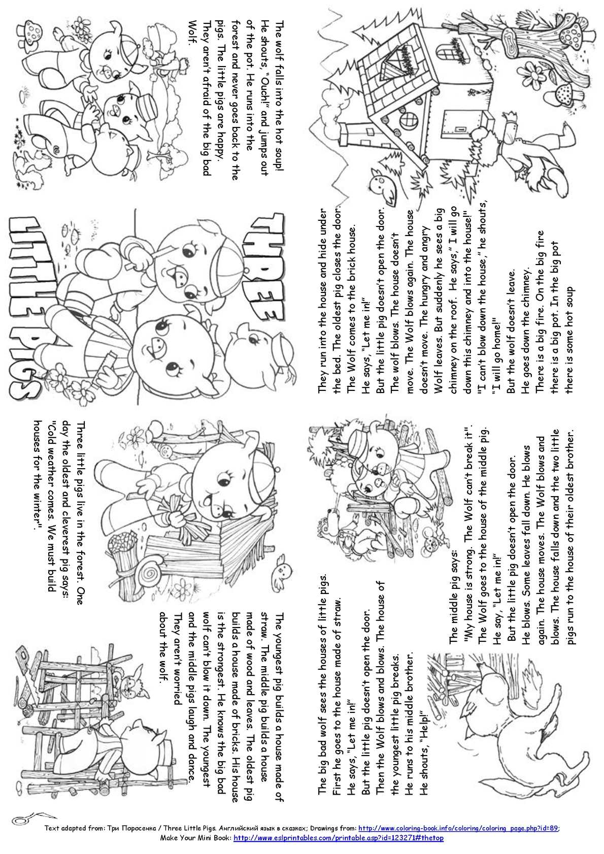It is a picture of Wild Three Little Pigs Story Printable
