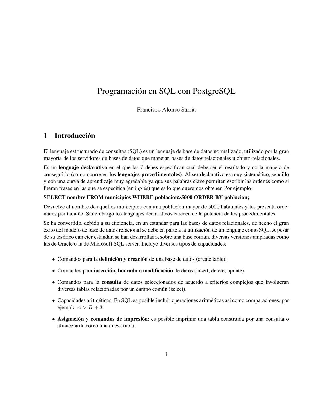 Posgramación en SQL con PostgreSQL
