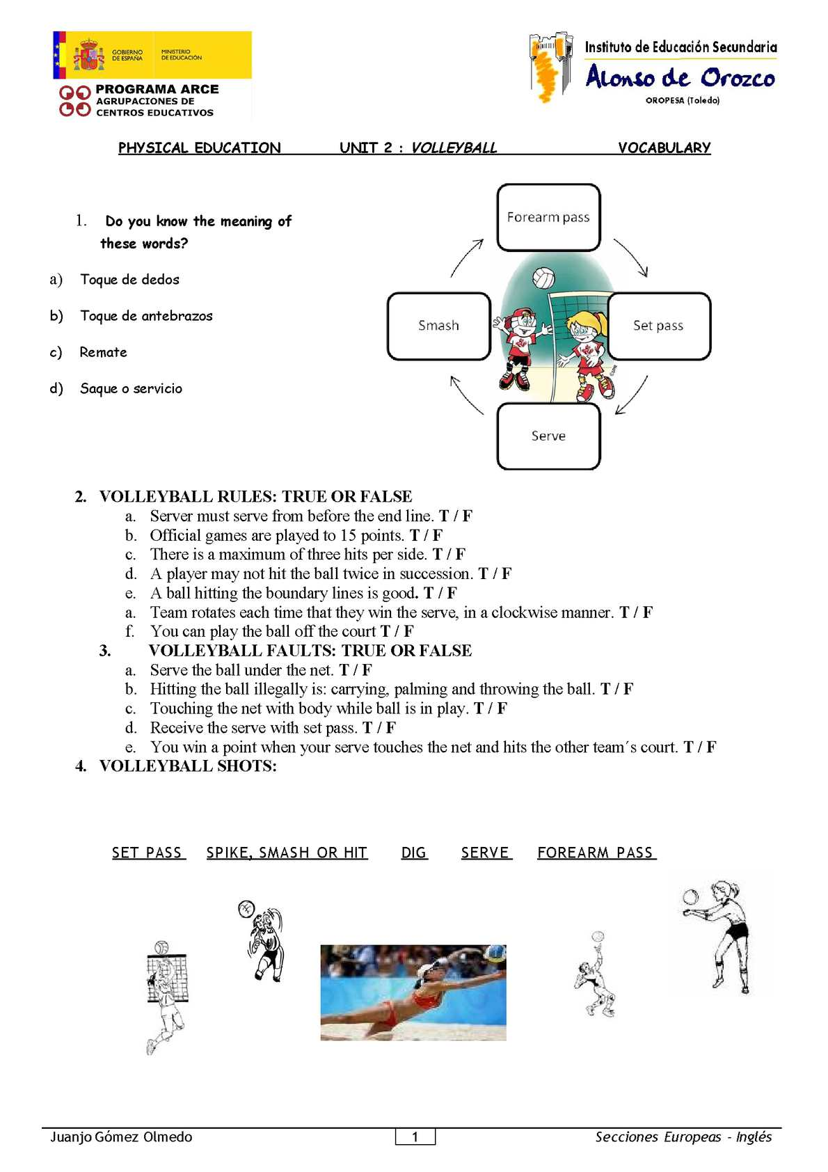 Physical Education-2º ESO-Volleyball vocabulary