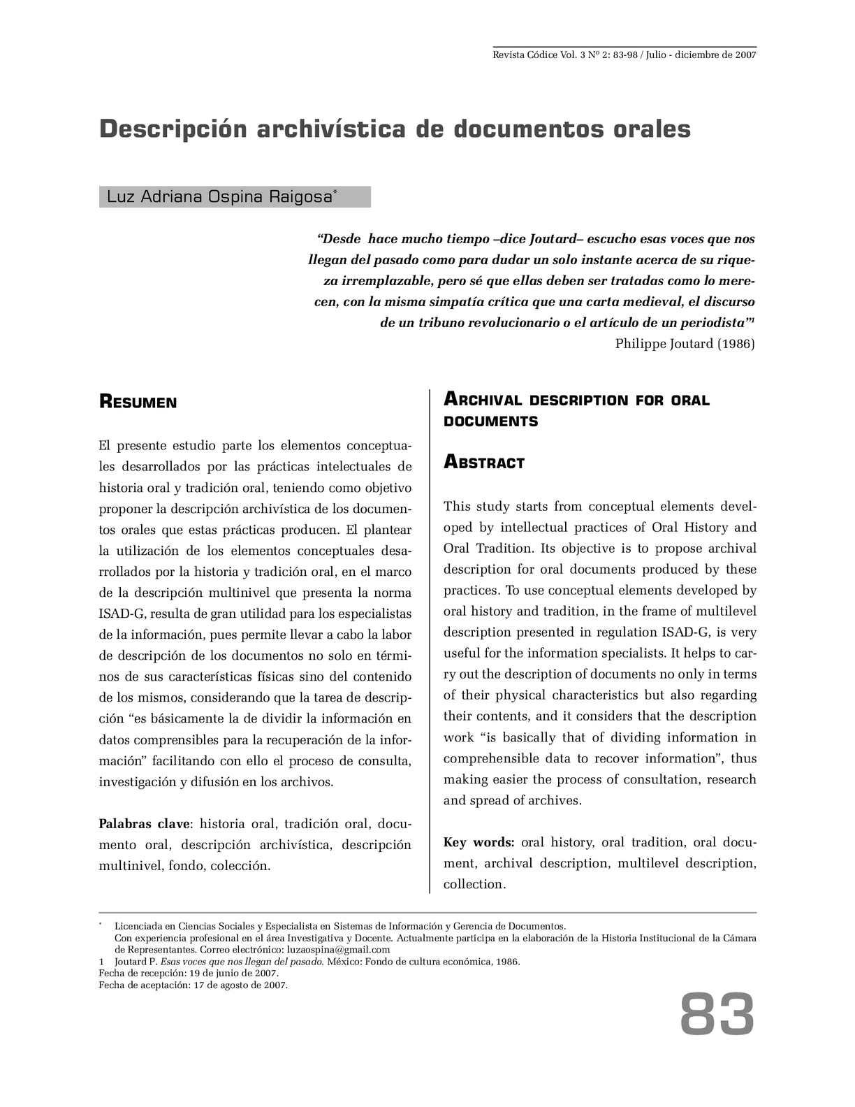 Calaméo - Descripción archivística de documentos orales