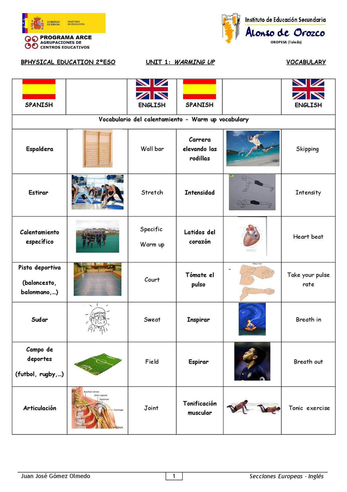 Physical Education-2º ESO-Warming up-VOCABULARY