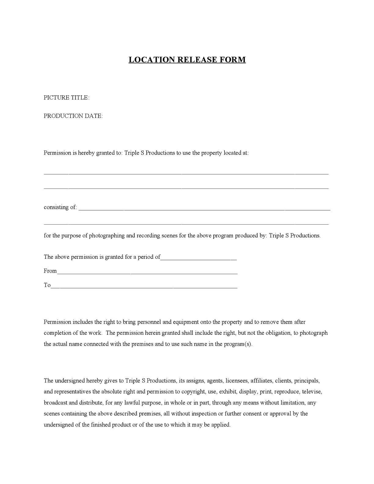 Calaméo - Location Release Form
