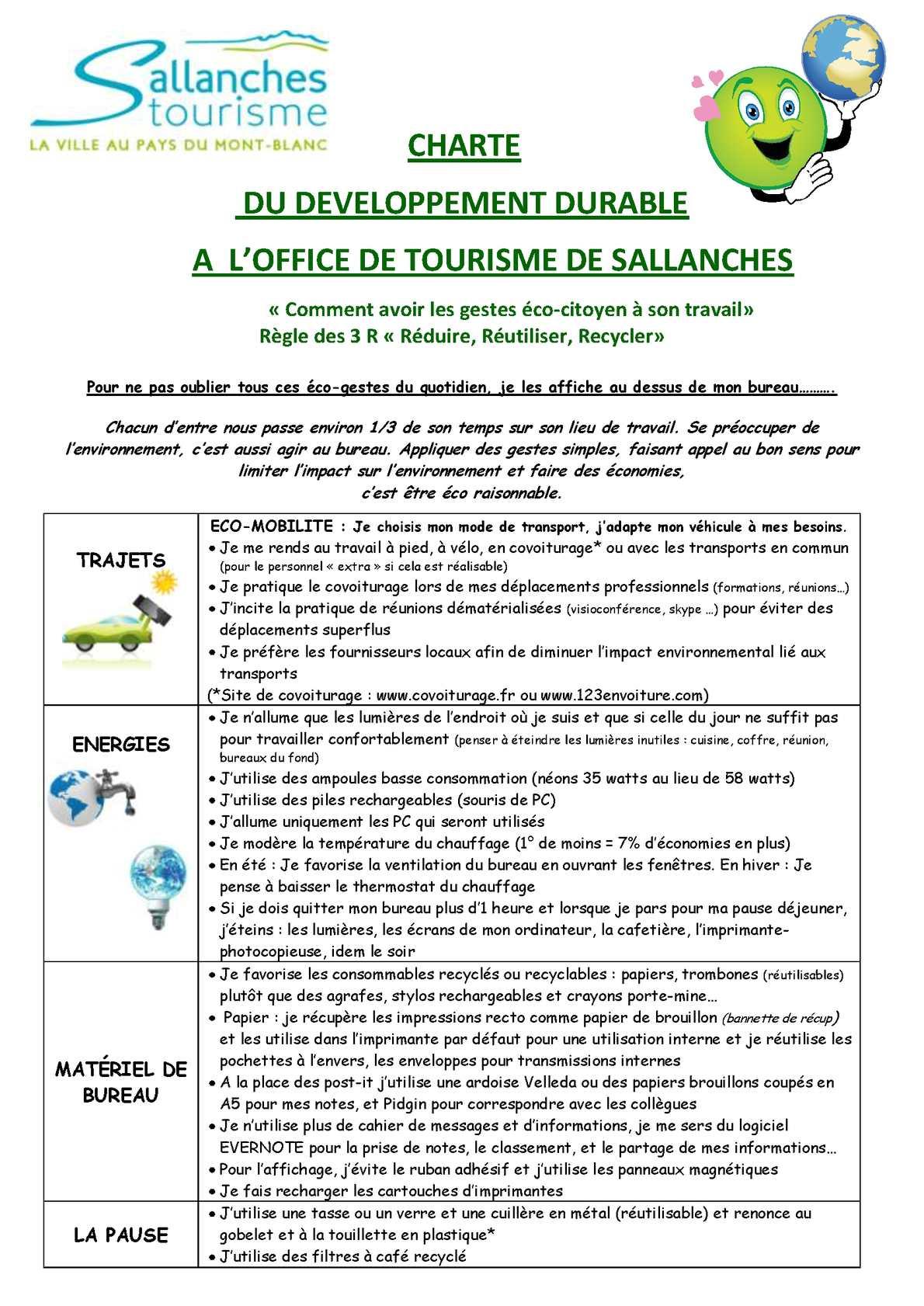 Calam o la charte d veloppement durable de l 39 office de tourisme - Office de tourisme emploi ...