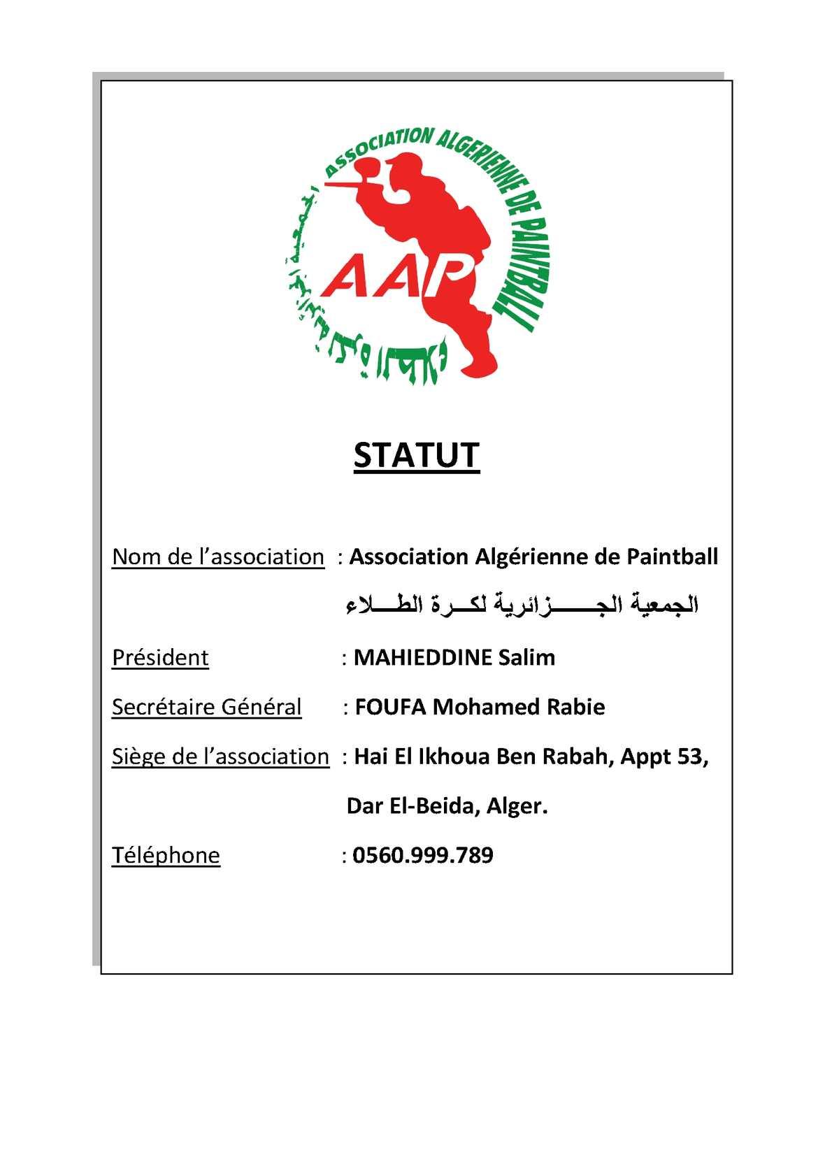 Statut de l'Association Algérienne de Paintball