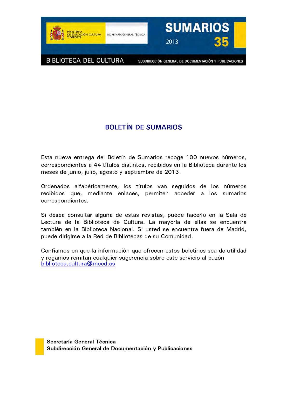 Calaméo - Boletín de Sumarios nº 35 del Centro de Documentación Cultural