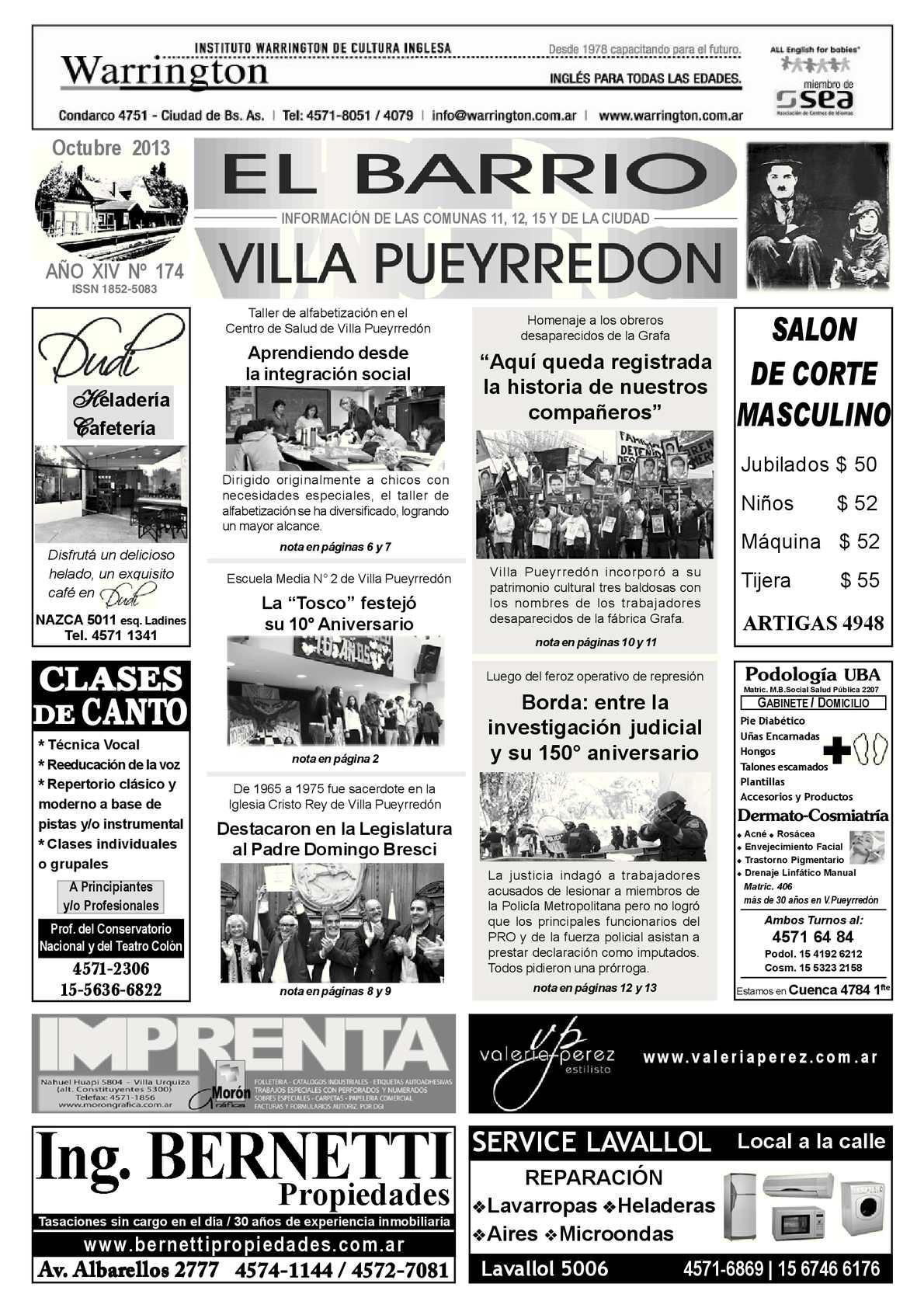 Calaméo - PERIÓDICO BARRIAL DE VILLA PUEYRREDÓN - Octubre 2013