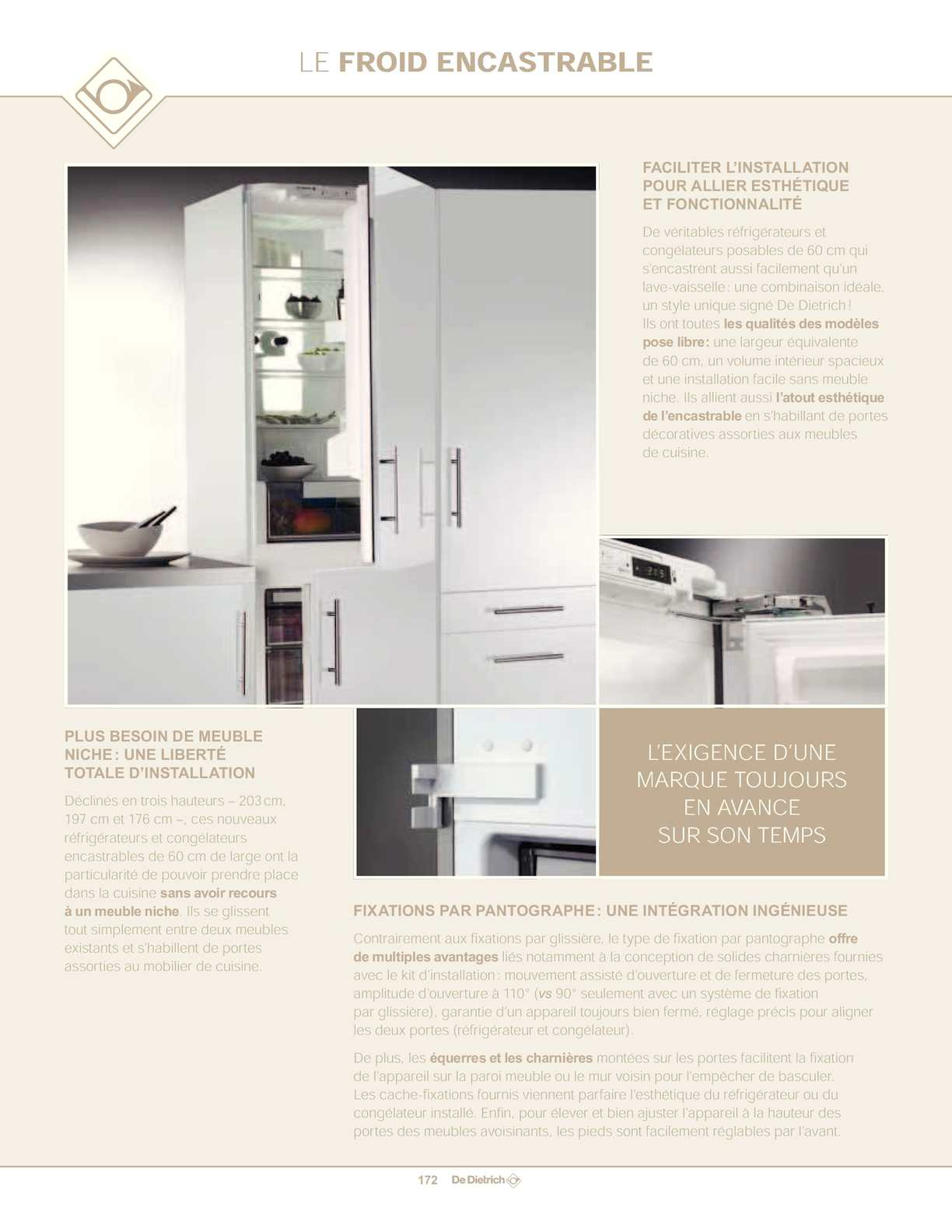 Calam o catalogue froid de dietrich for Installer un frigo encastrable