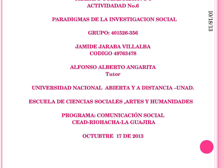 Trabajo Colaborativo 1 paradigmas de la investigacion social