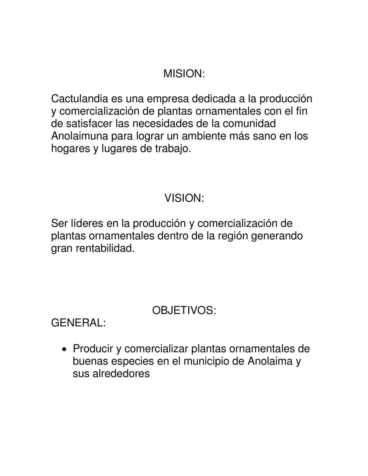 Calam o mision vision objetivos y estrategias de la for Plan de negocios de un vivero de plantas