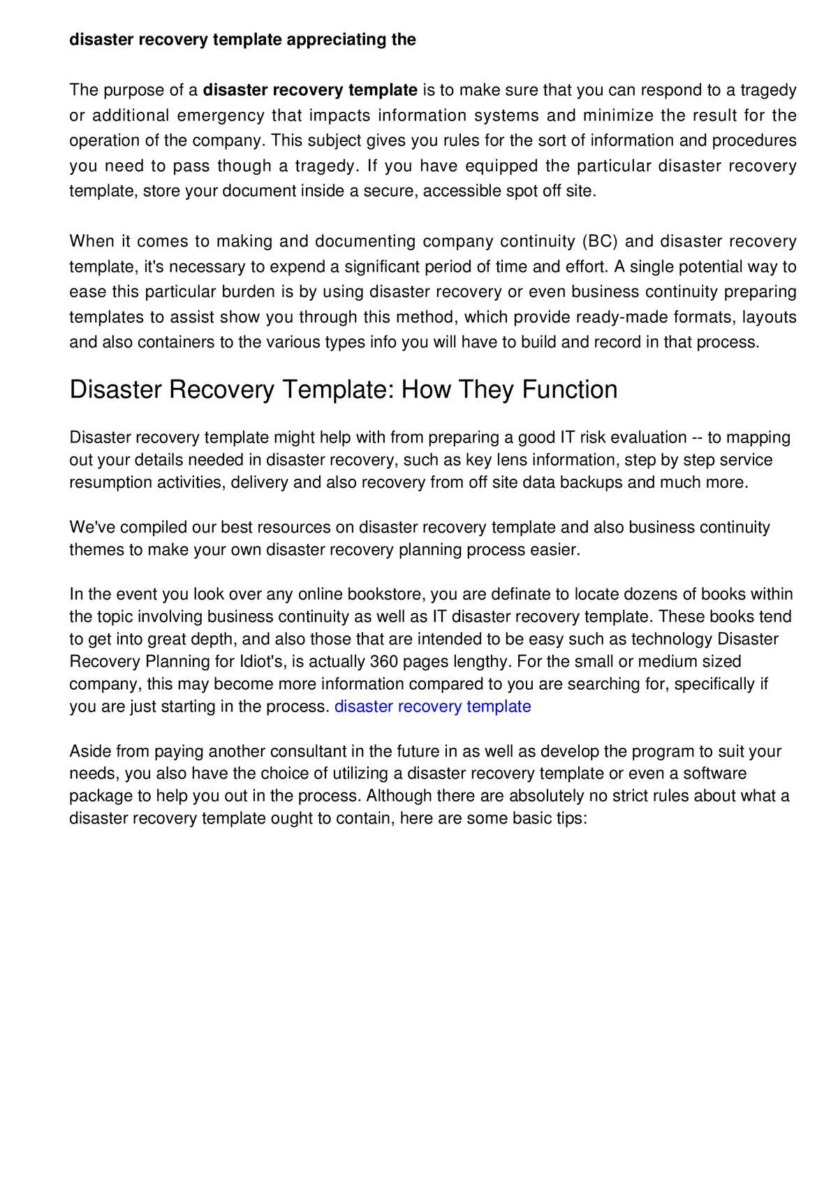 Calamo Disaster Recovery Template Grasping The Program