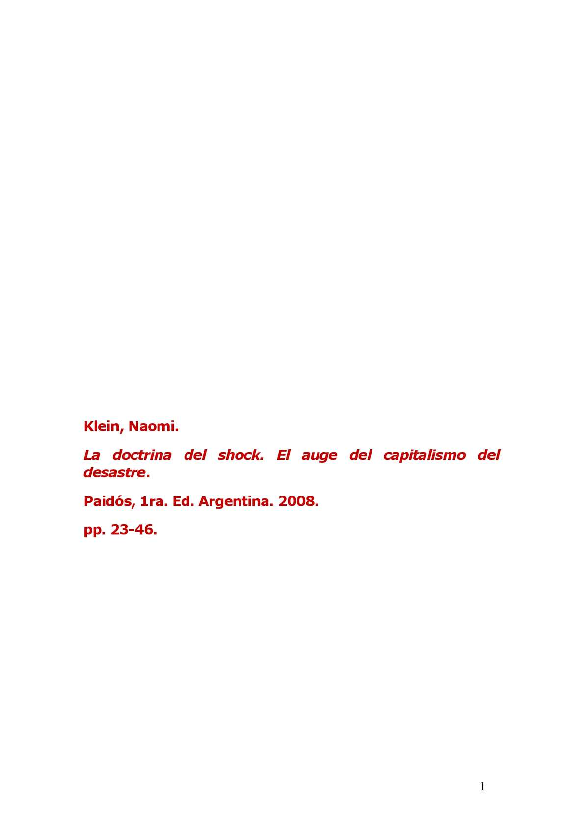 Calaméo - Naomi Klein: La doctrina del shock - obra completa