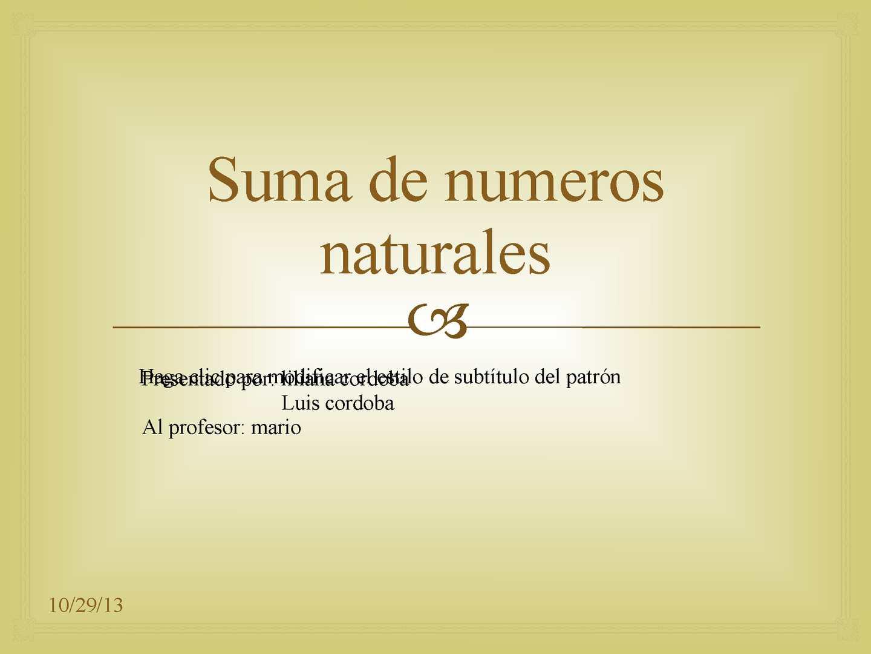Calaméo - suma de numeros naturales