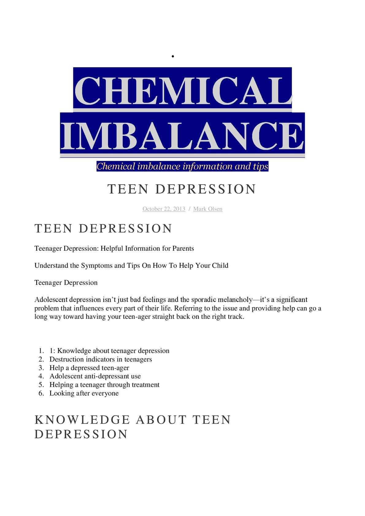 calaméo - chemical imbalance and depression