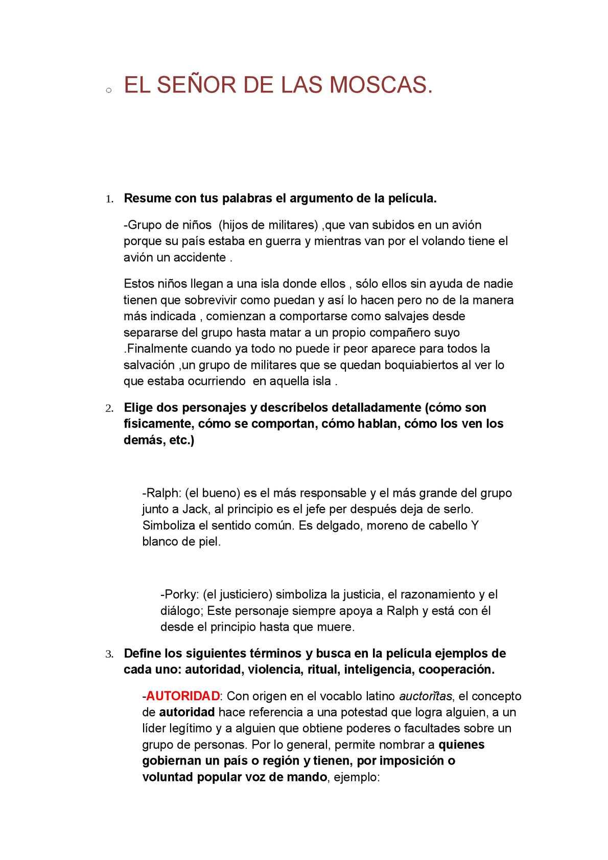 Calaméo - Cuestionario de la Película EL SEÑOR DE LAS MOSCAS.