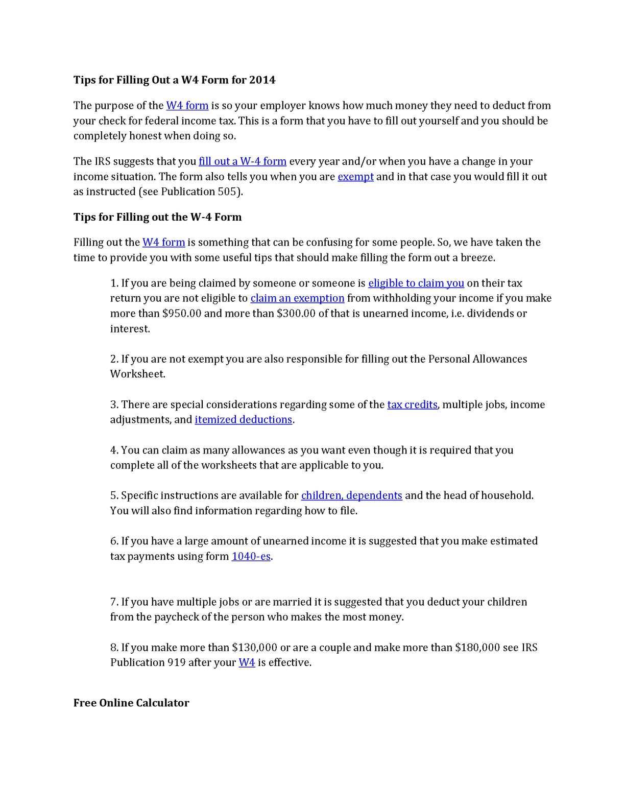 Calaméo - 4 W4 Tax Form for 2013, 2014