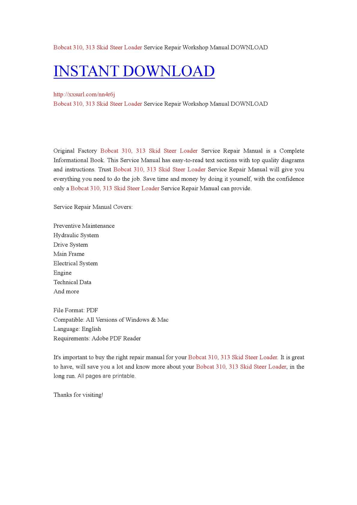bobcat repair manuals 313 ebook
