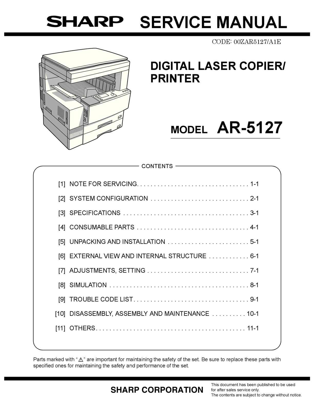 Calamo Service Manual Sharp Ar 5127 Sme Mt8870 Dtmf Telephone Dial Tone Decoder Circuit Diagram Nonstopfree