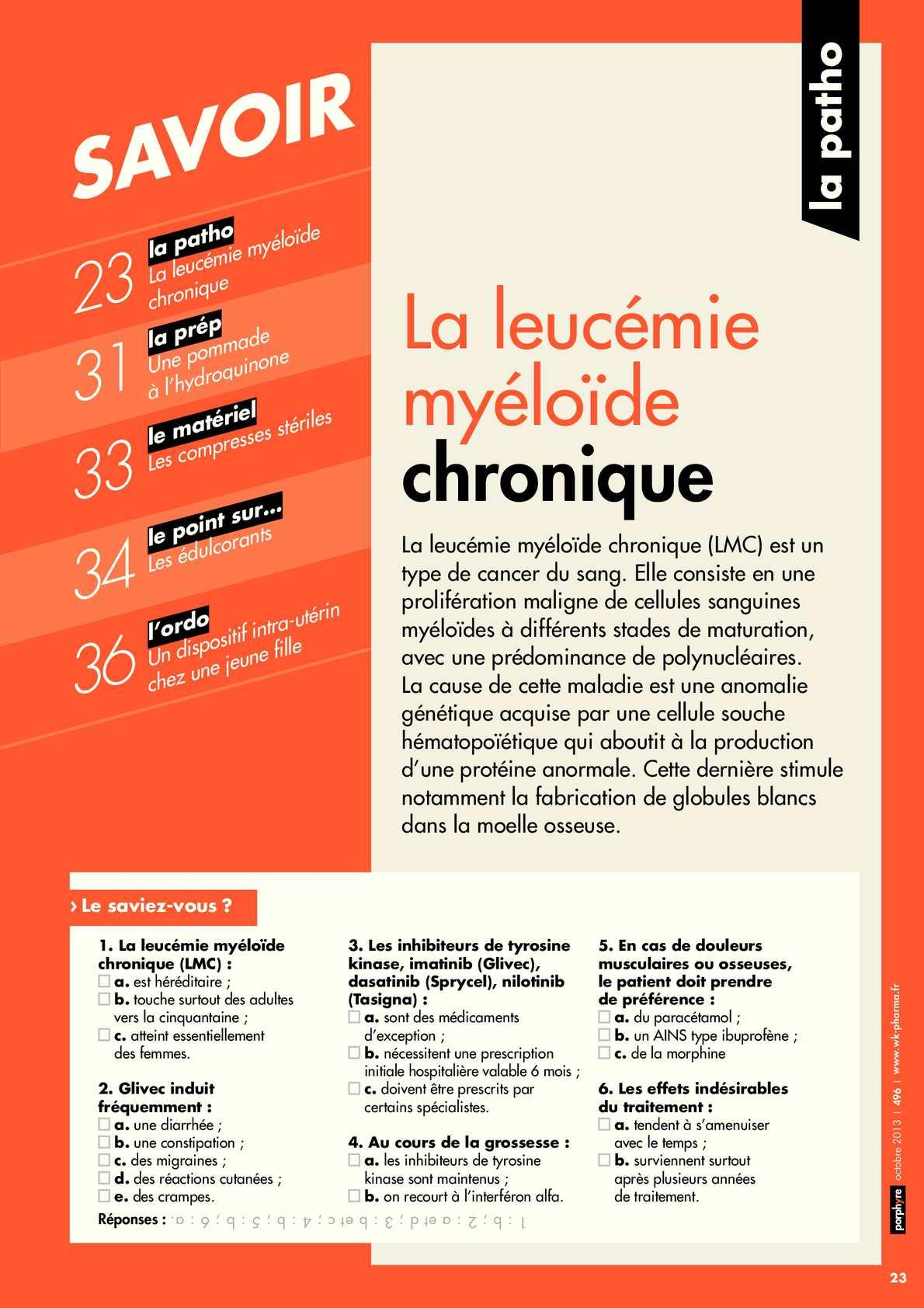 Dossier LMC du mensuel des pharmaciens Porphyre