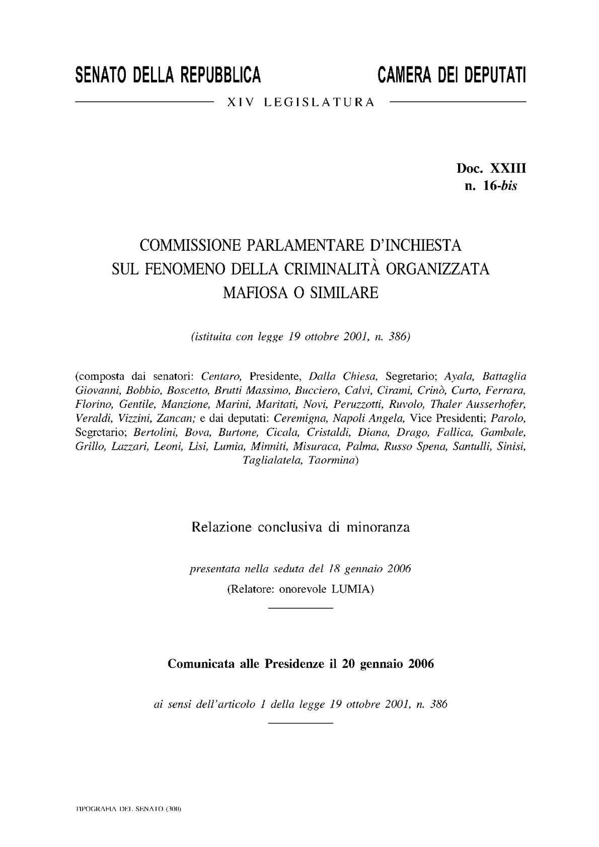 Calaméo MISSIONE IPARLAMENTARE INCHIESTA SULLA MAFIA 2005 LUMIA