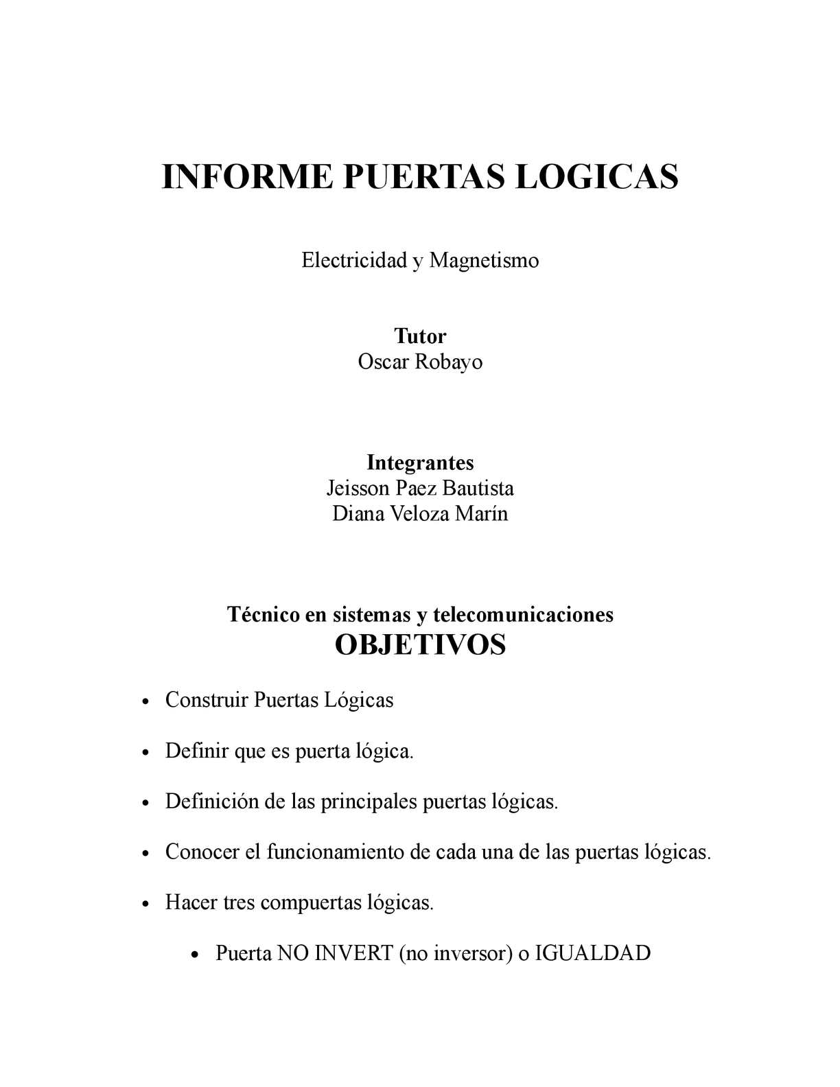 Circuito Xnor : Calaméo informe puerta logica