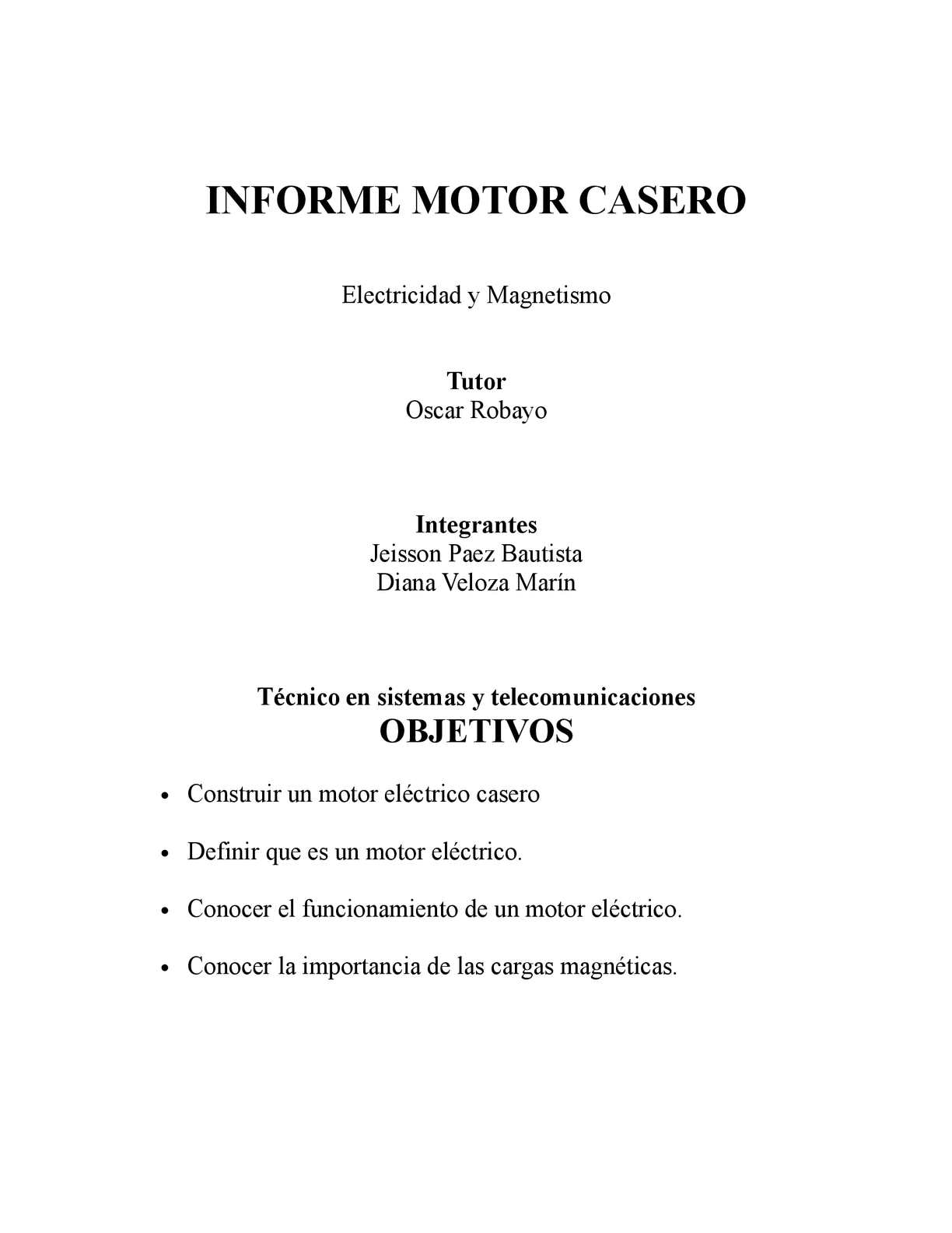 Calaméo - INFORME MOTOR ELECTRICO