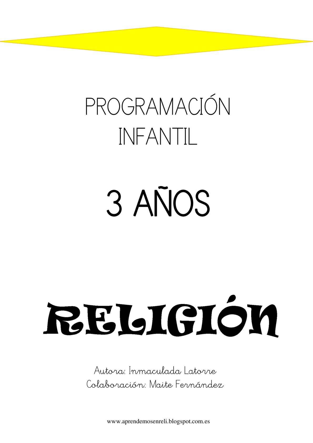 PROGRAMACIÓN INFANTIL RELIGIÓN - 3 AÑOS