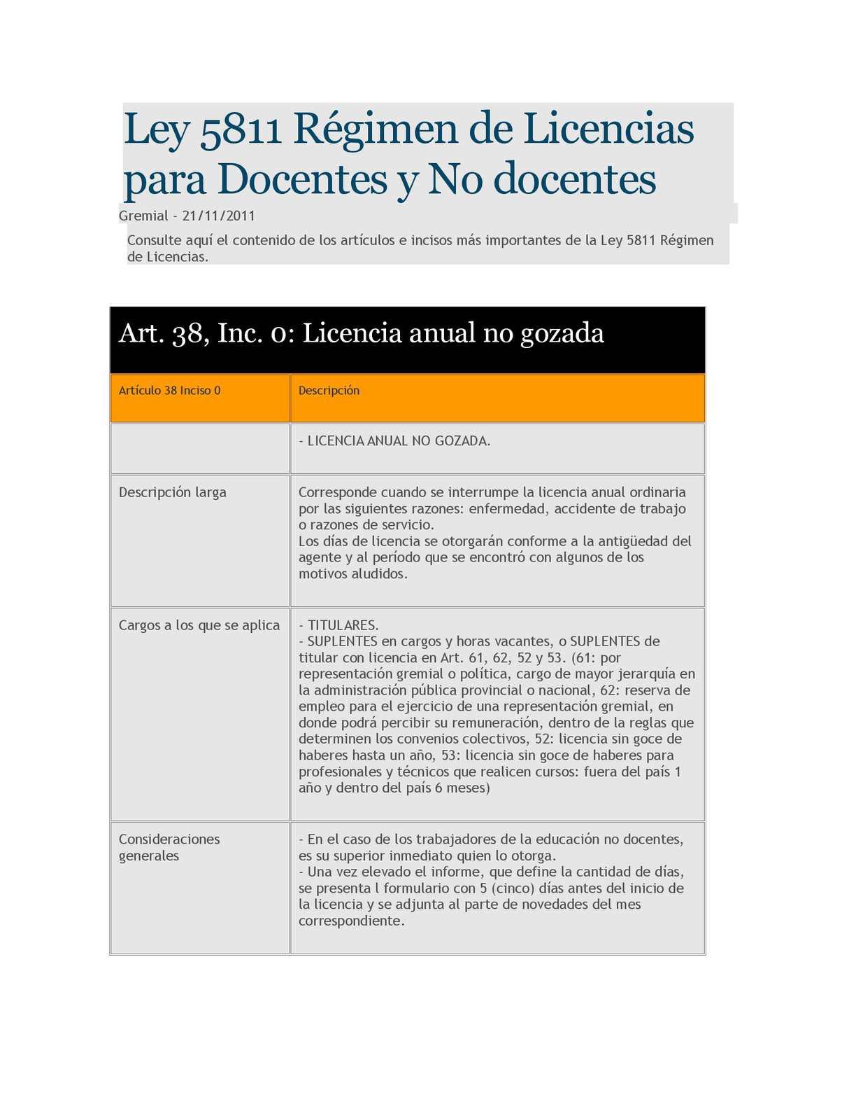 Ley 5811 Régimen de Licencias para Docentes y No docentes