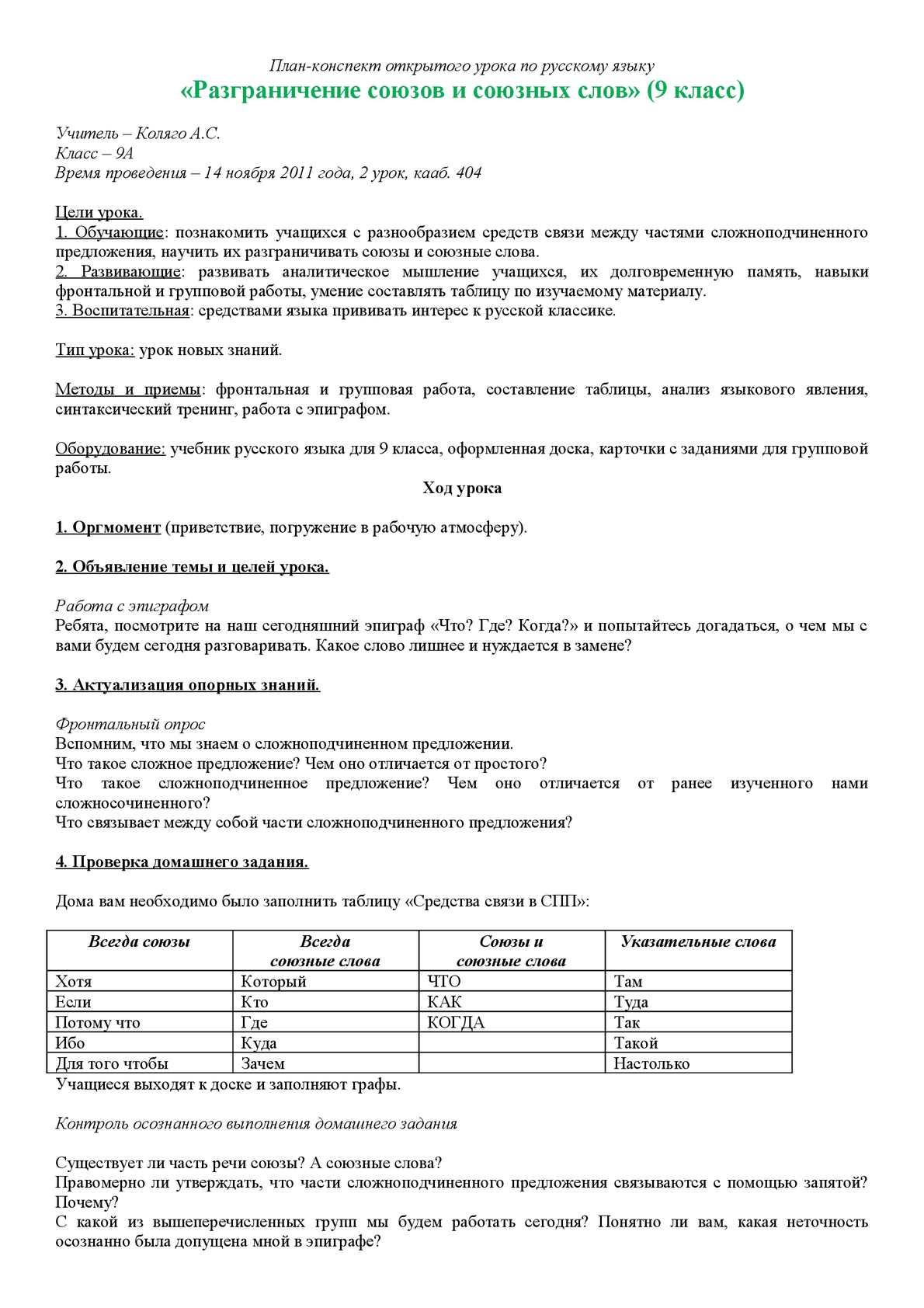 """""""Разграничение союзов и союзных слов"""" - план-конспект открытого урока по русскому языку"""