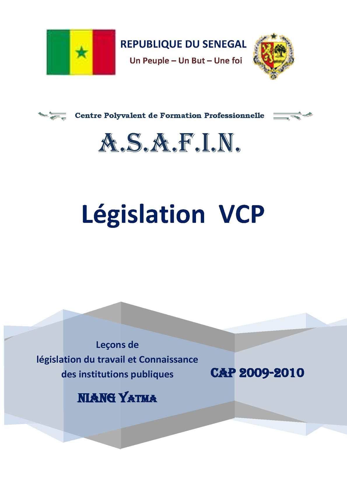 Calameo Cours De Legislation Du Travail Au Senegal
