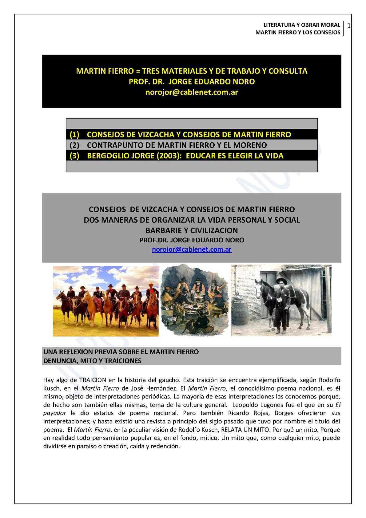 129. MARTIN FIERRO + TRES MATERIALES PARA CONSULTAR Y TRABAJAR