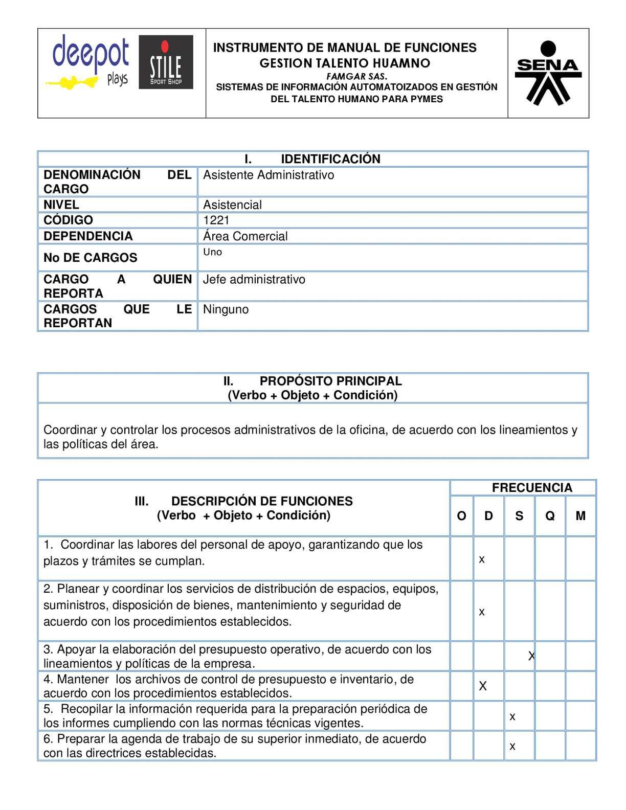 Calam o manual de funciones asistente administrativa Manual de procesos y procedimientos de una empresa de alimentos
