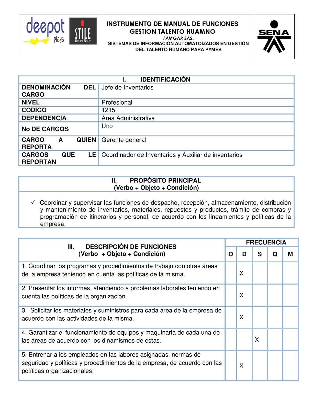 Calam o manual de funciones jefe de inventarios for Manual de procedimientos de alimentos y bebidas de un hotel