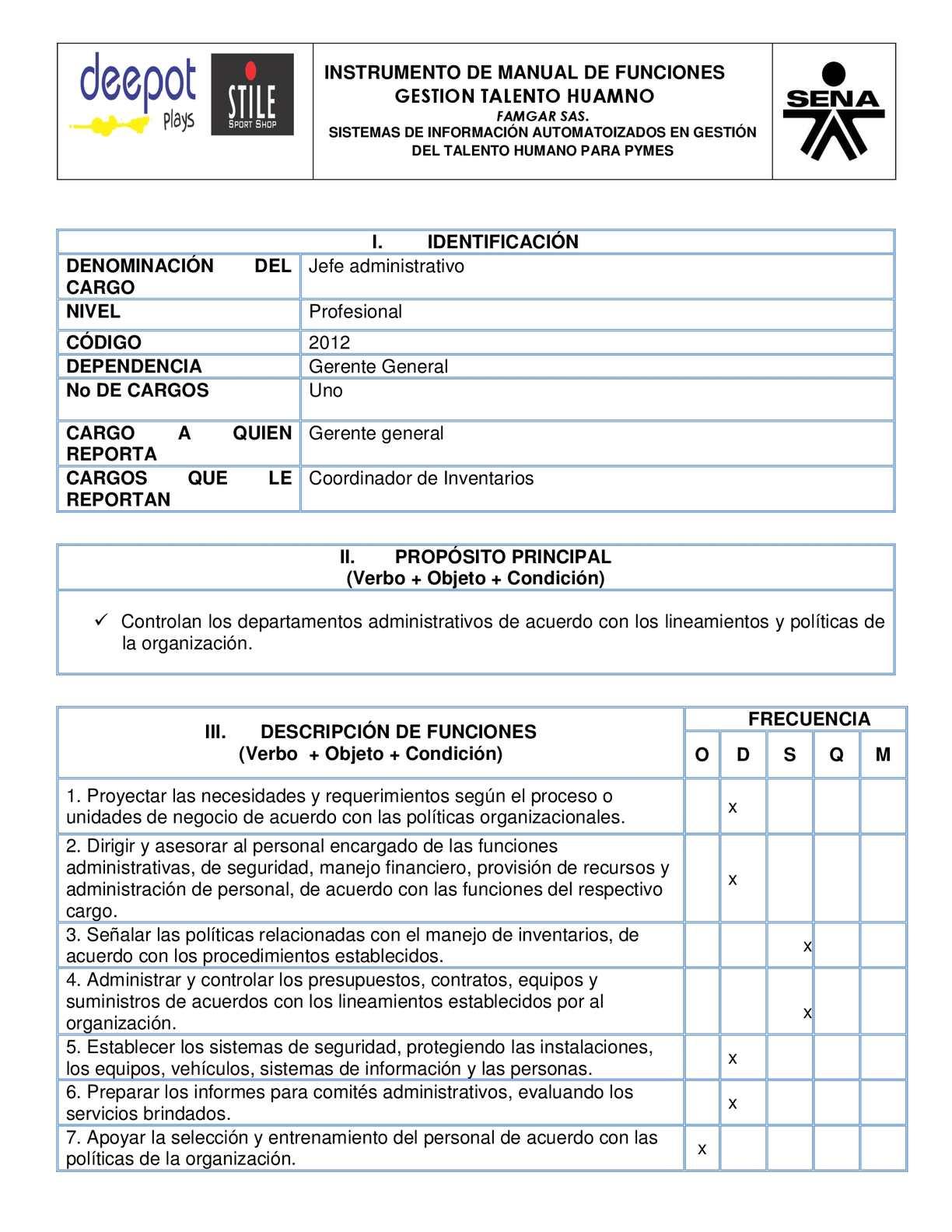 Calam o manual de funciones jefe administrativo Manual de procesos y procedimientos de una empresa de alimentos