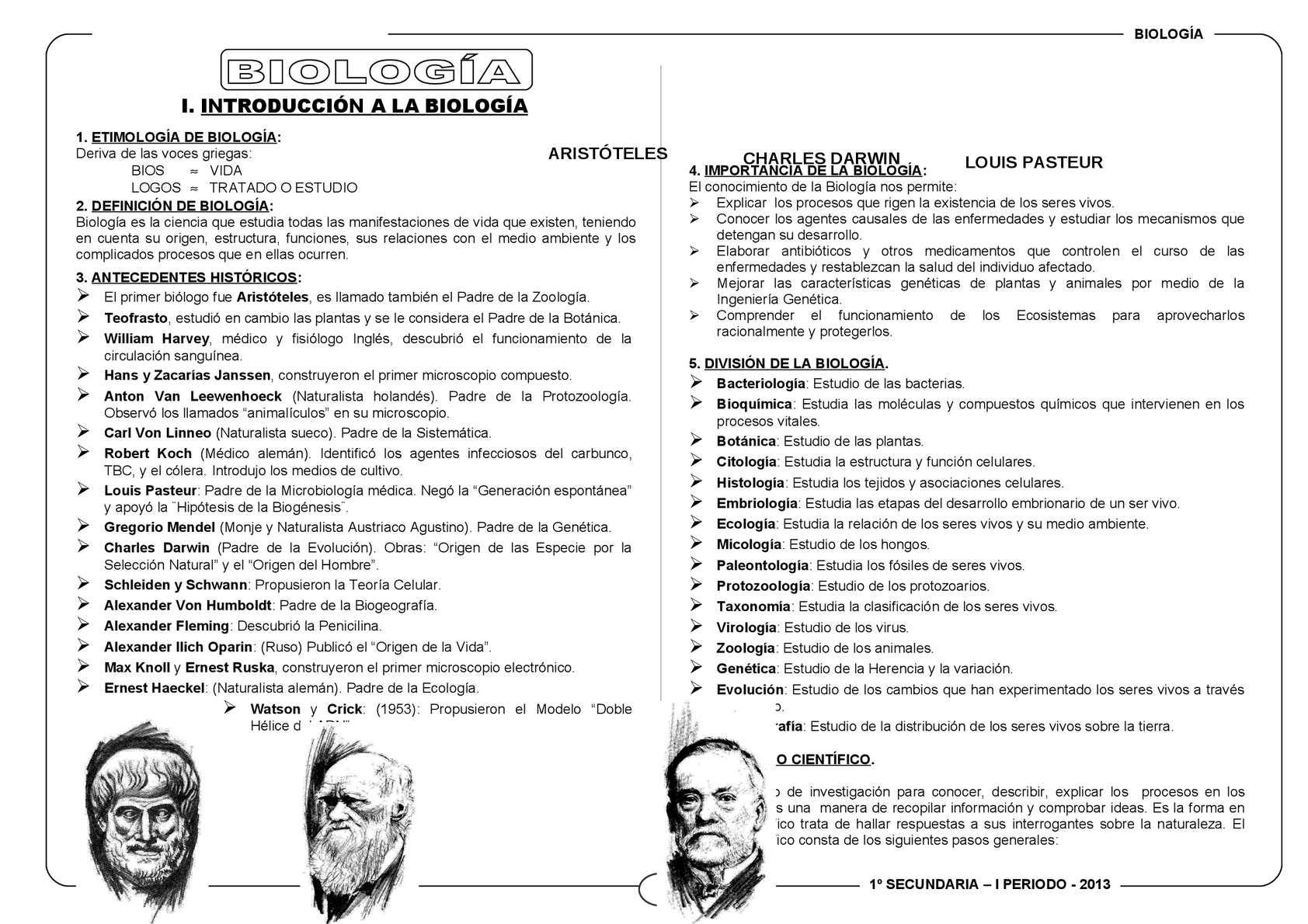 FICHA DE TRABAJO BIOLOGÍA 1 SECUNDARIA I BIMESTRE PERÚ