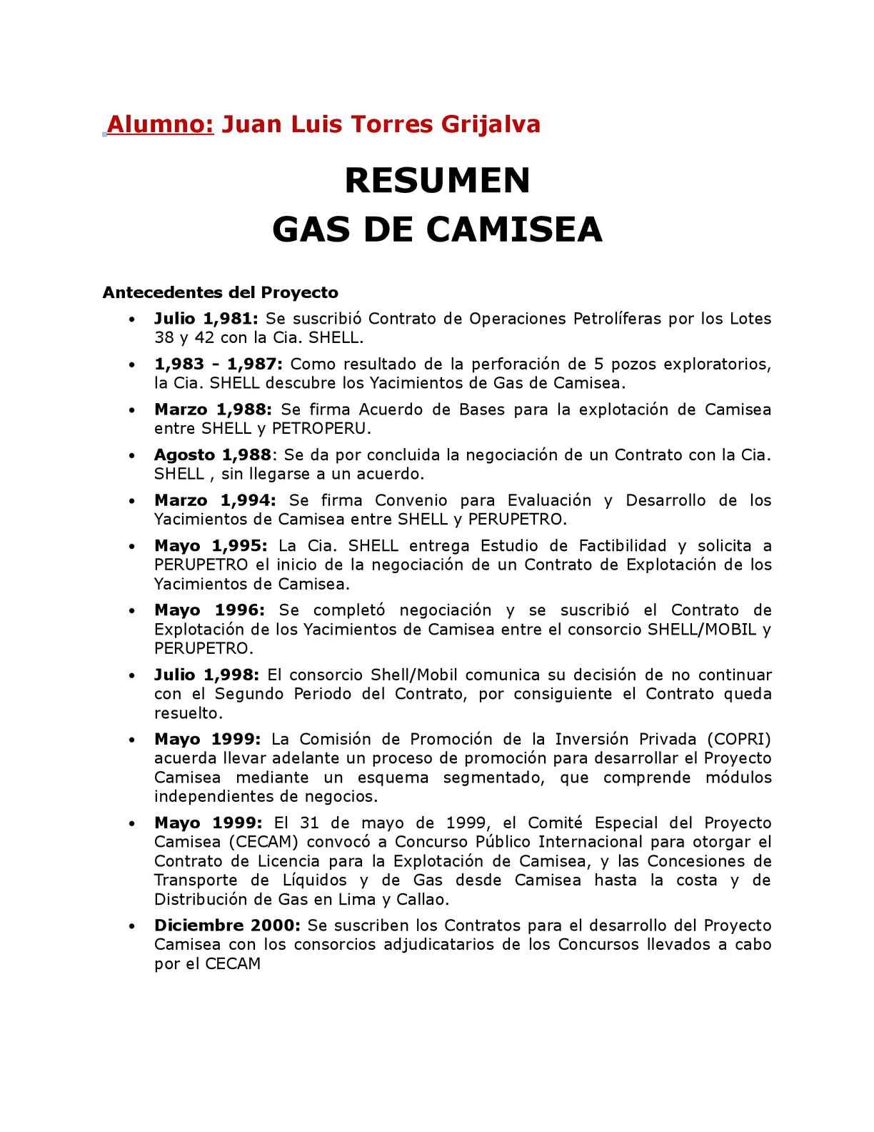 Resumen del Proyecto de Gas de Camisea