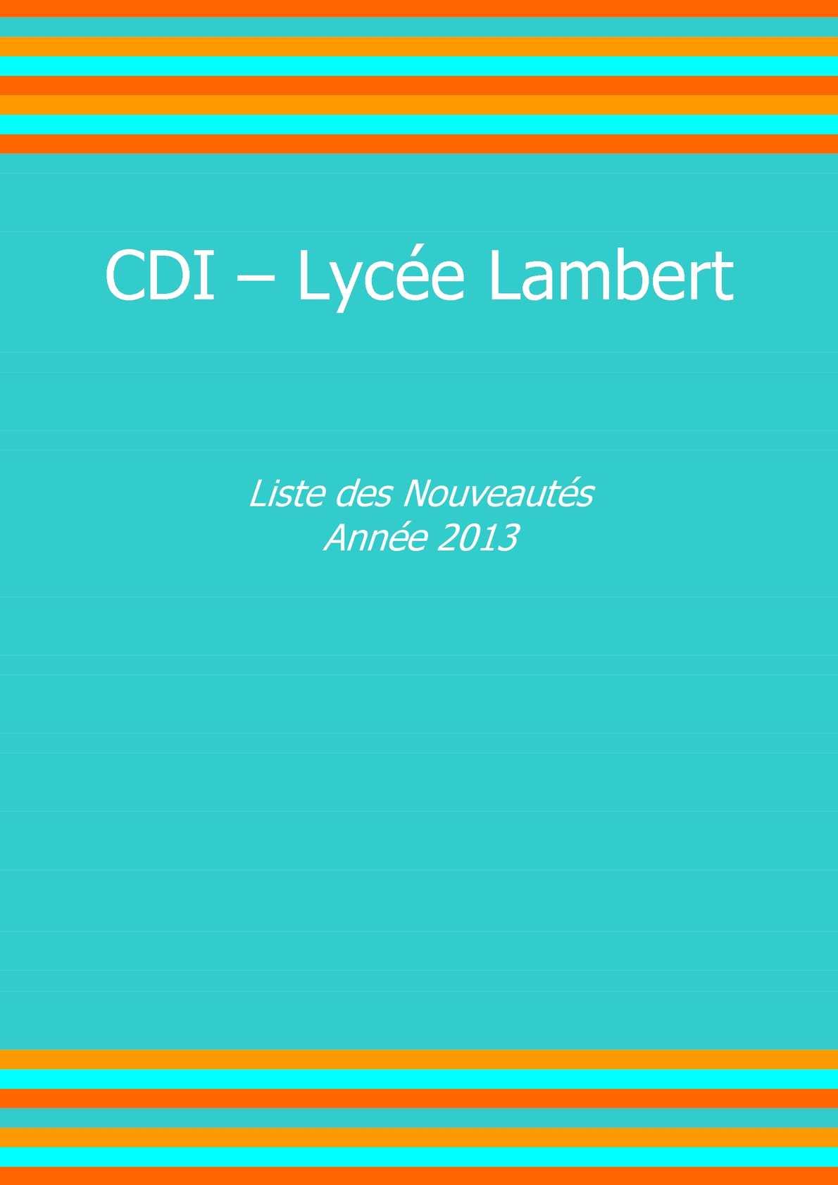 Cdi Nouveautés Calaméo Du Lycée 2013 Lambert xSxwnrZq