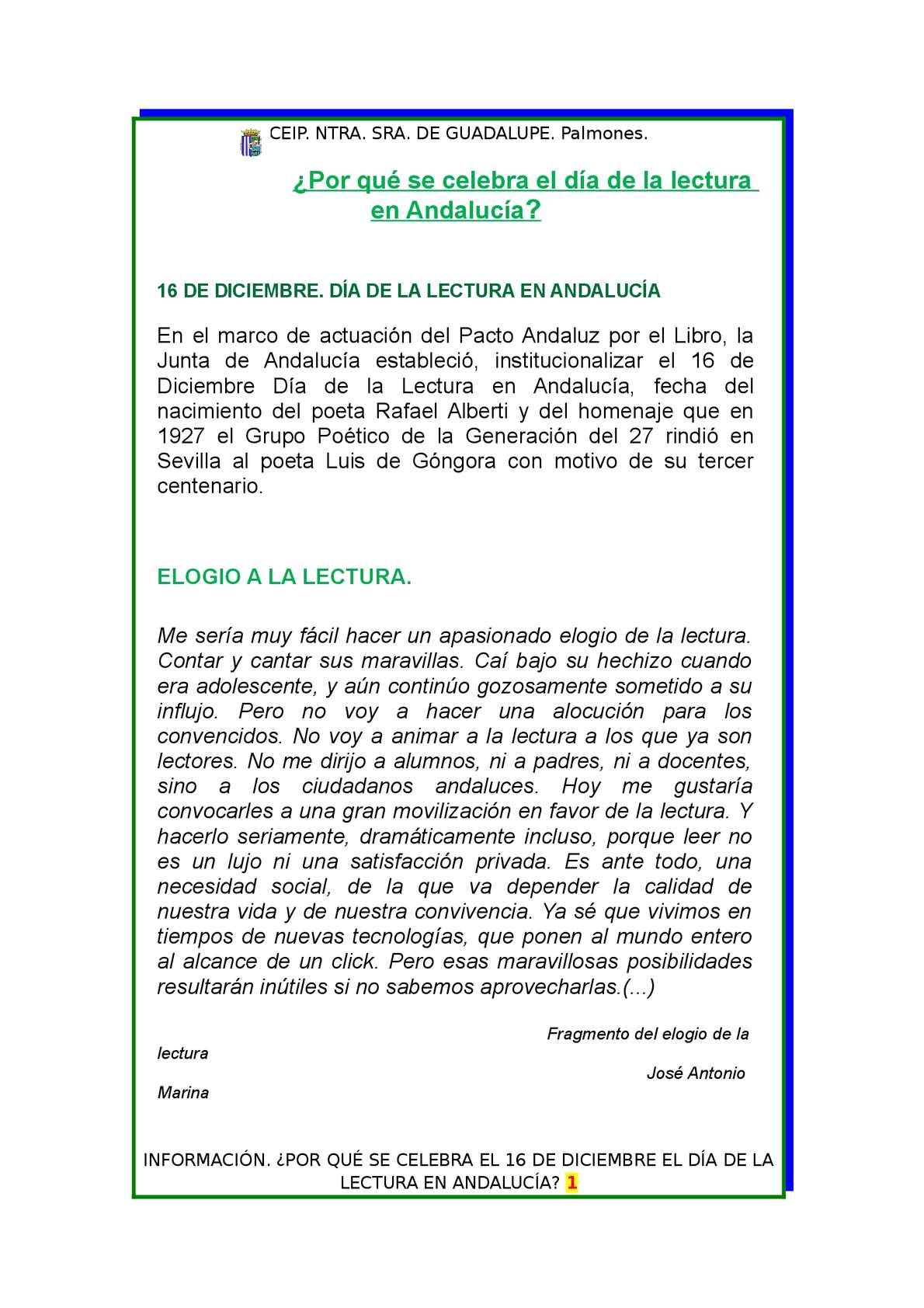 Calaméo - Día de la lectura en Andalucía, 16 diciembre. Información.