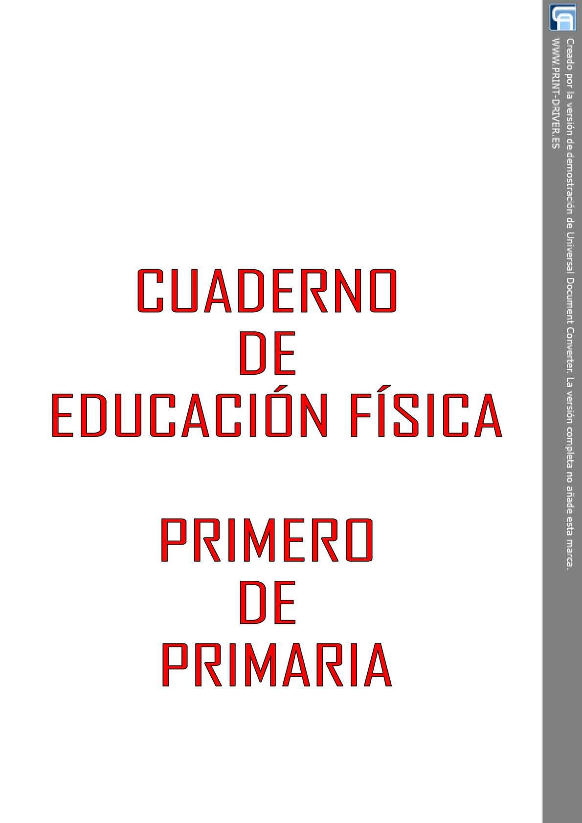 CUADERNO DE EDUCACIÓN FÍSICA DE PRIMERO