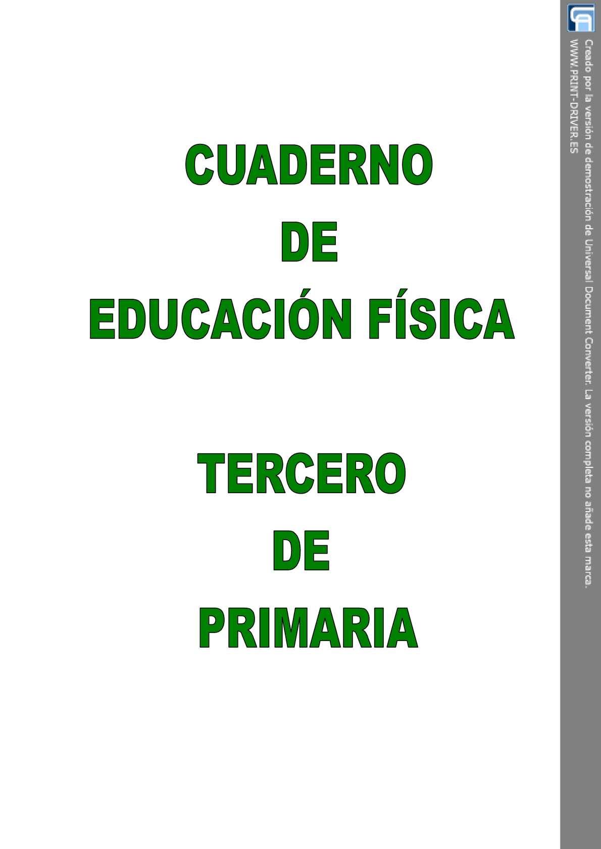 CUADERNO DE EDUCACIÓN FÍSICA DE TERCERO