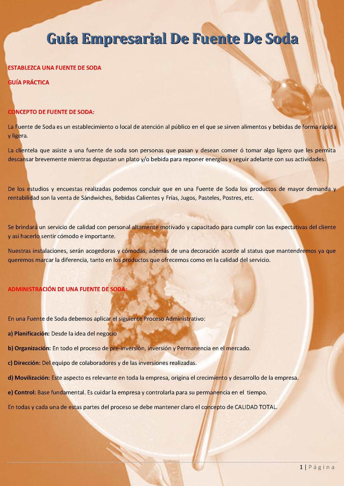 Guía Empresarial De Fuente De Soda